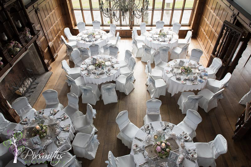 wedding reception view from gallery Hillbark Hotel wedding photography
