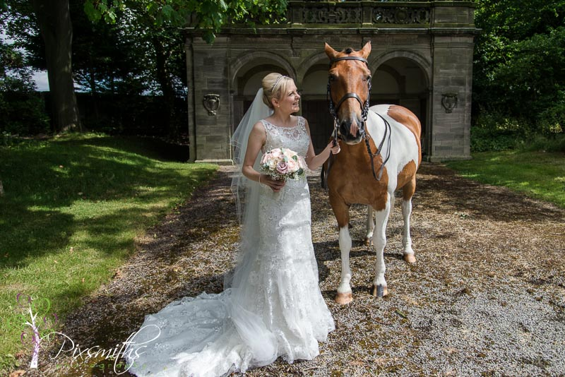 bride with horse at Thornton Manor