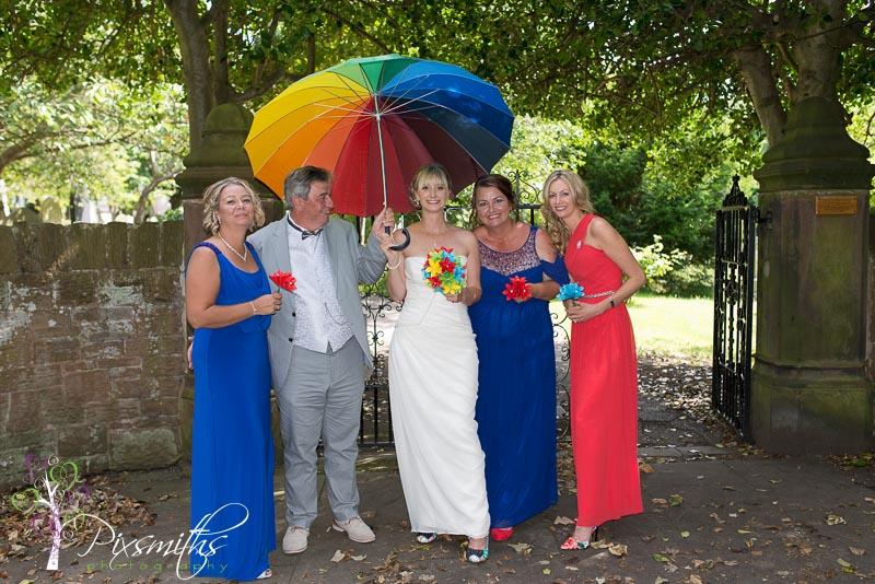 rainbow themed summer wedding West kirby