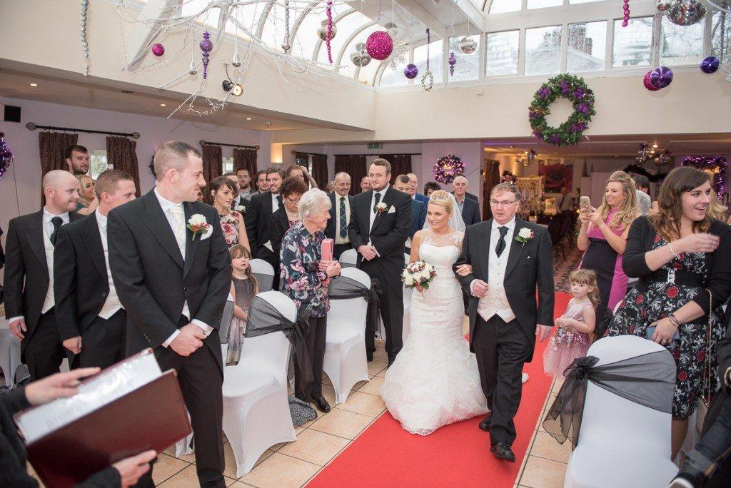 Bride arrival for ceremony Plasa Hafod