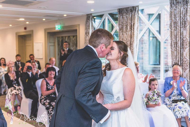 272_Charlton_Crabwall manor wedding photography of the First Kiss