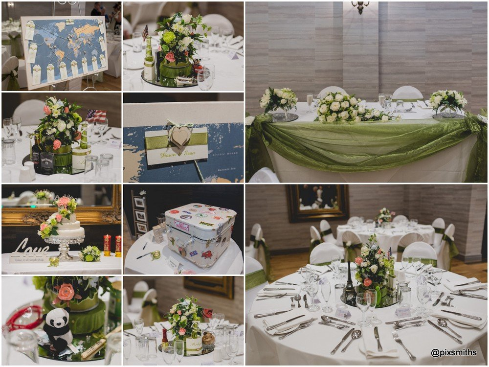 reception details at Brook Hall wedding venue