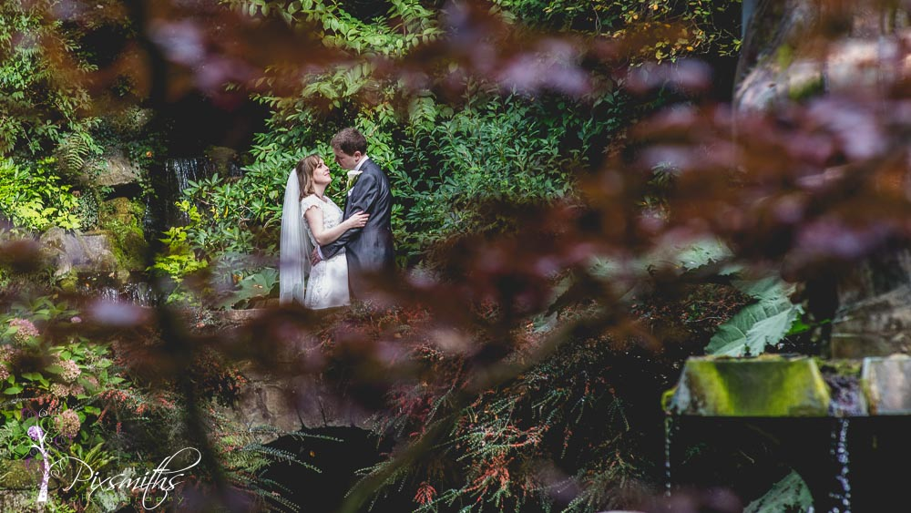 Chester zoo weddign photography, bridal portrait in sunken garden