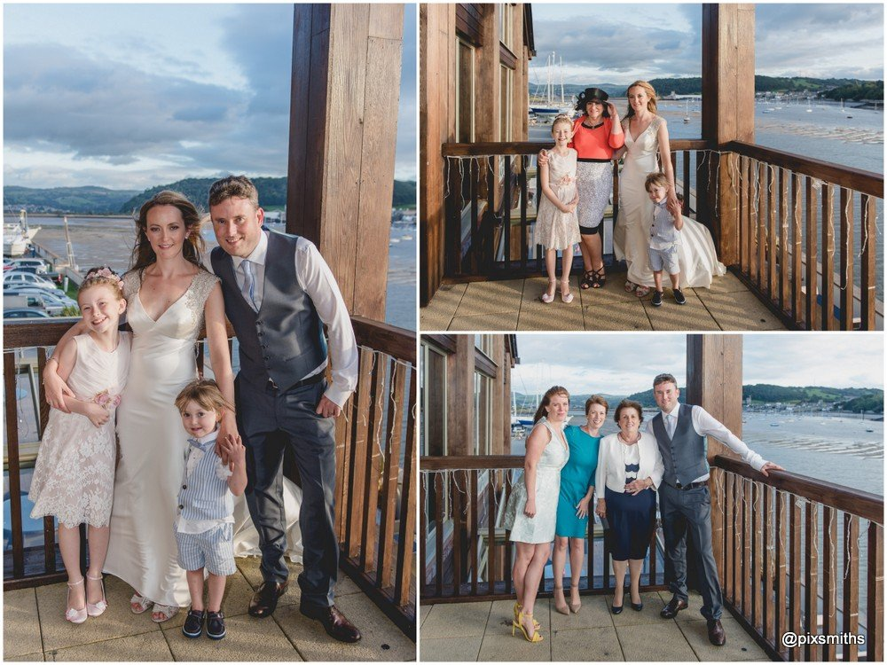 fitzgibbon8 Quay Deganwy wedding photography on the balcony overlooking the estuary
