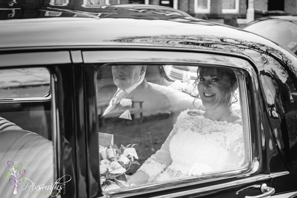 Bride arriving for her Williamson Art Gallery wedding