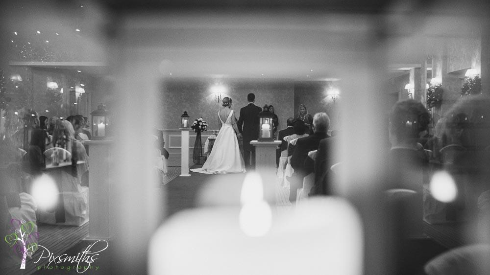 unique view at wedding ceremenoy Rowton Hall