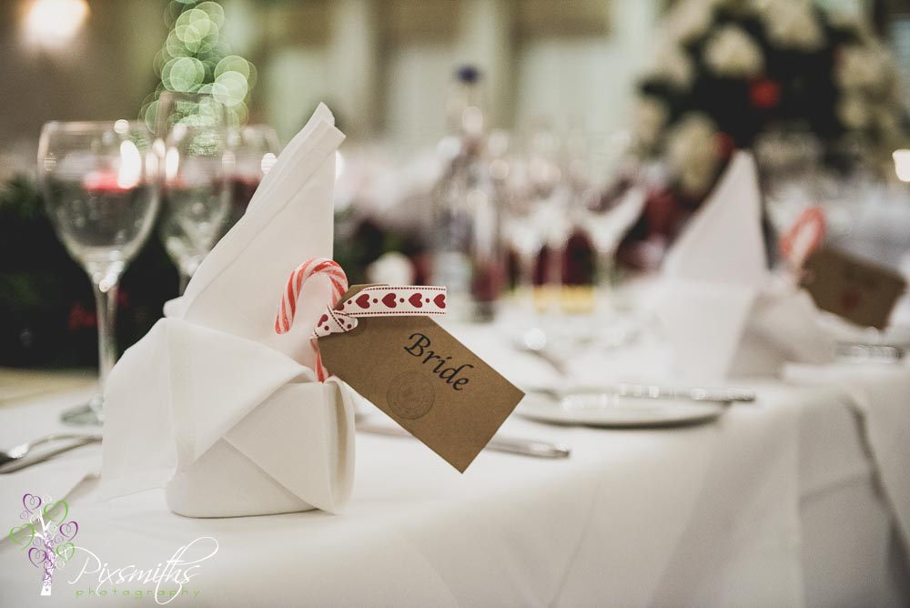 Christmas themed wedding Rowton Hall