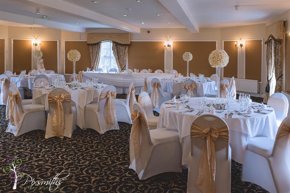 Turret Suite set up for a wedding reception Leasowe Castle