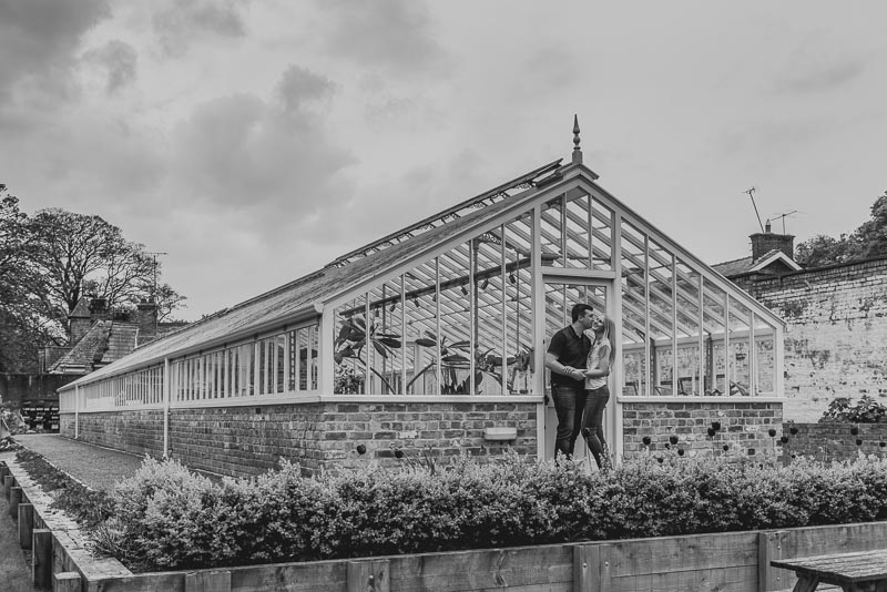 Green house Burton Manor engagement shoot