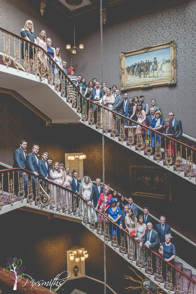 staircase group shot Queen Hotel Chester