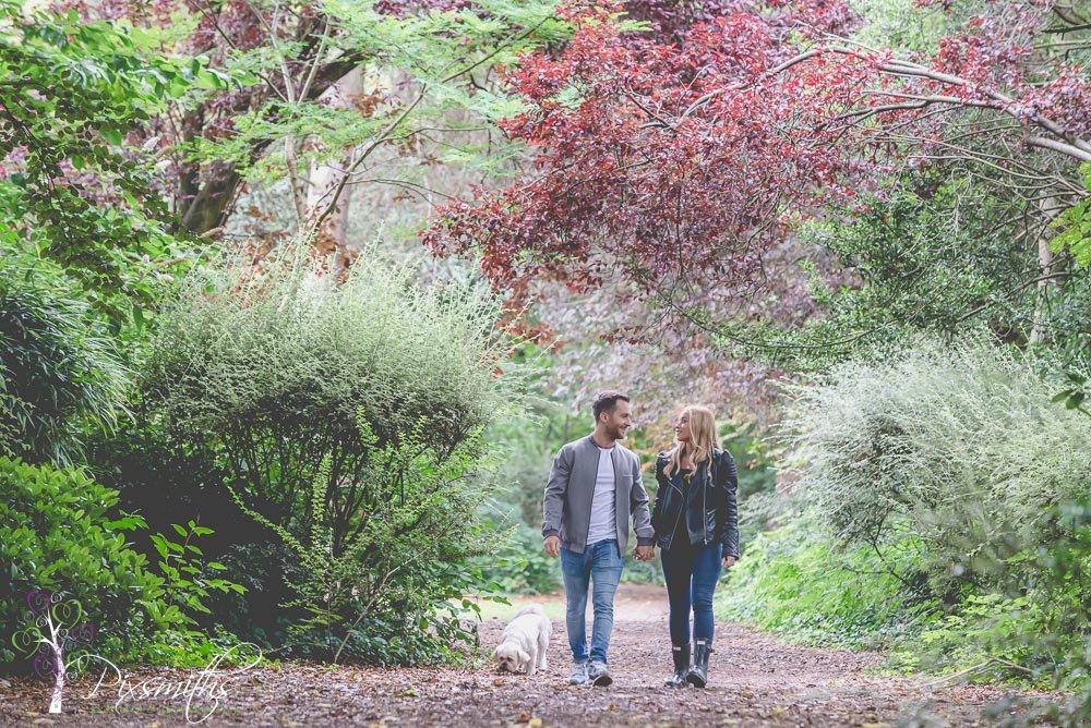 walking in Ashton Park on an engagement shoot