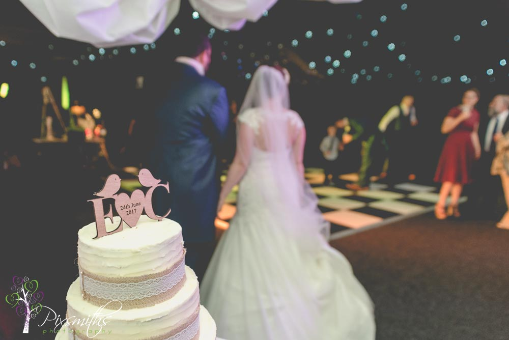 initail cake topper by Natalie Cake bakes at Nunsmere Hall wedding