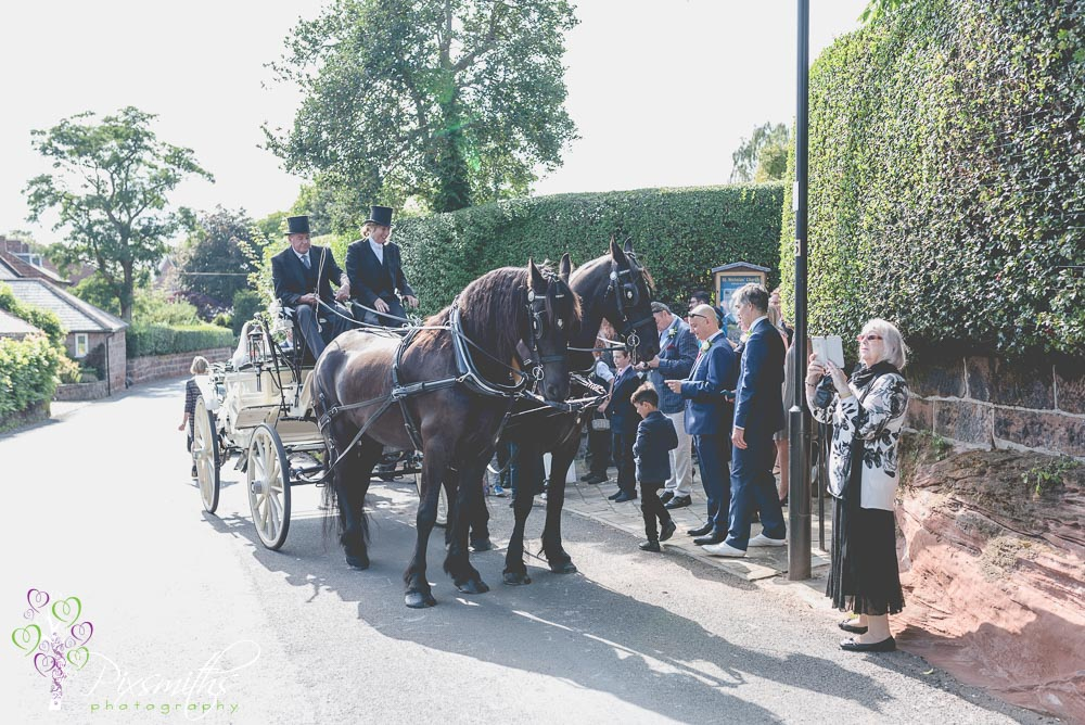 Oaktree Carriages bring bride and groom to St Nicholas Burton