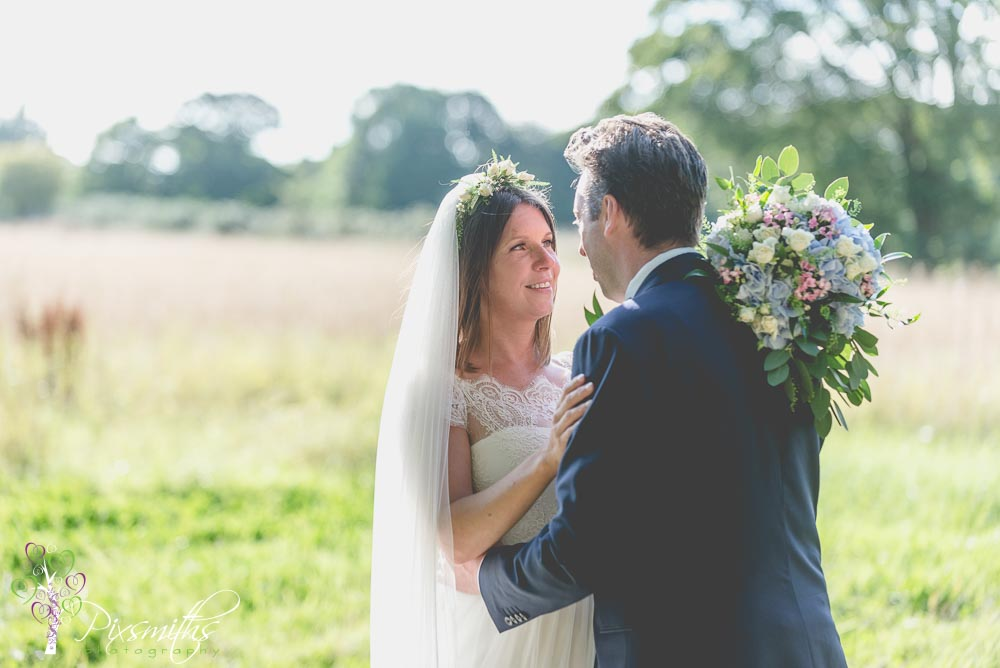 bride and groom portrait Cheshire marquee wedding