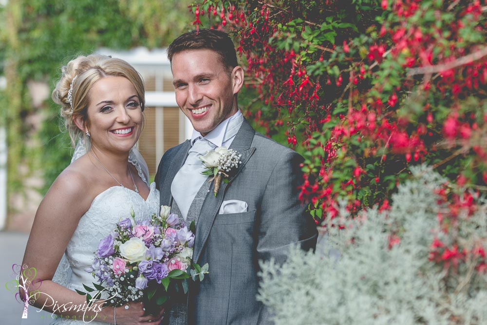 Happy bride and Groom at Rowton Hall, Chester