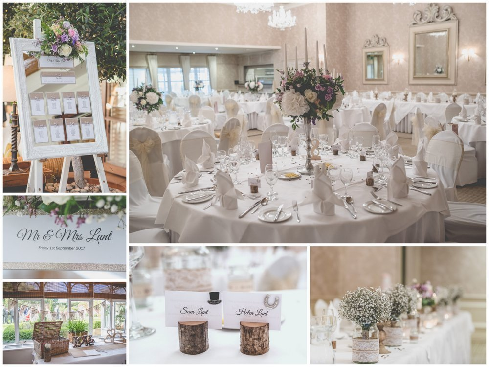 weddign reception details Rowton Hall Wedding