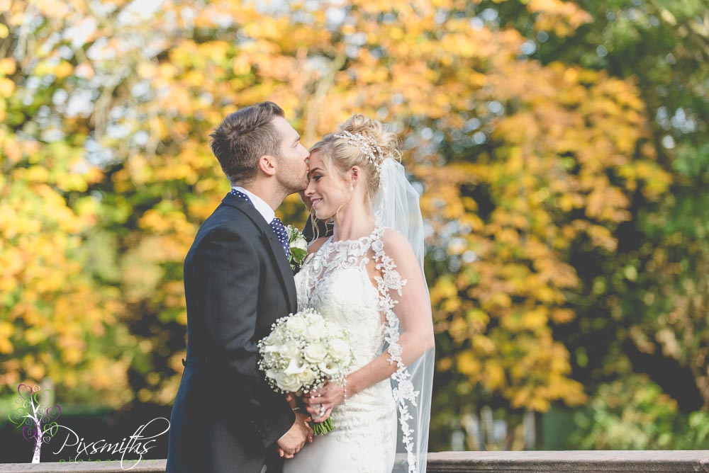 bride and groom autumn wedding Inglewood Manor