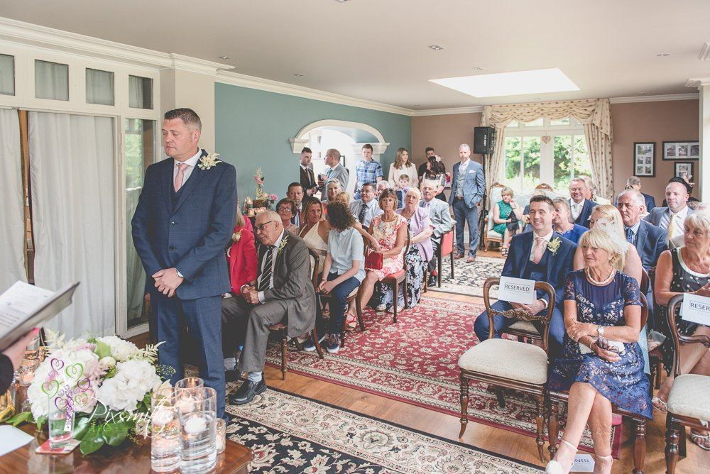 Groom waiting for bride at Mere Brook House