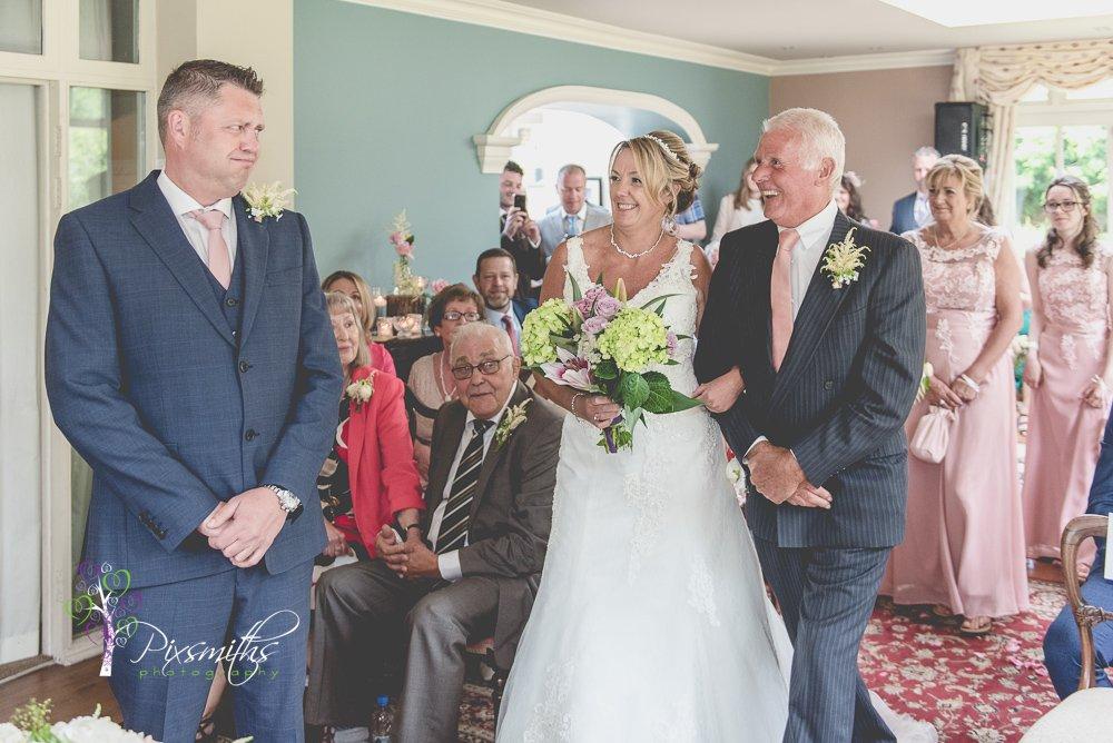 bride's entrance Mere Brook House Wedding