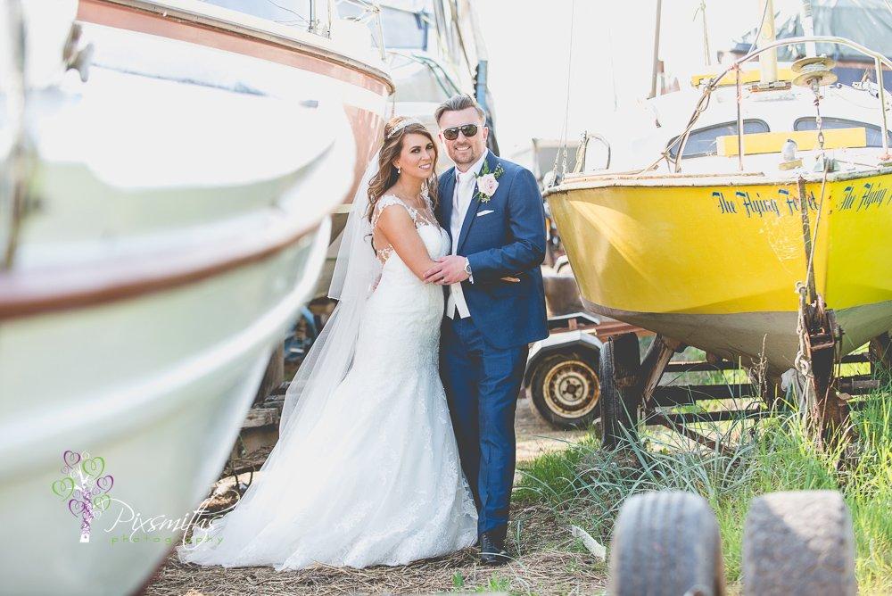 boat yard weddign portraits, Sheldrakes wedding photographer