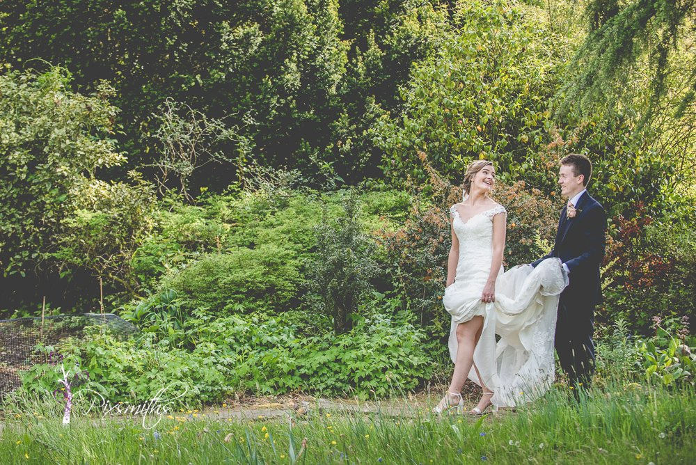 Ness Garden wedding brided and groom relaxed portrait
