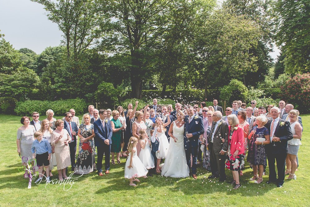 group confetti shot Mere Brook House Wedding Photography, Cheshire wedding