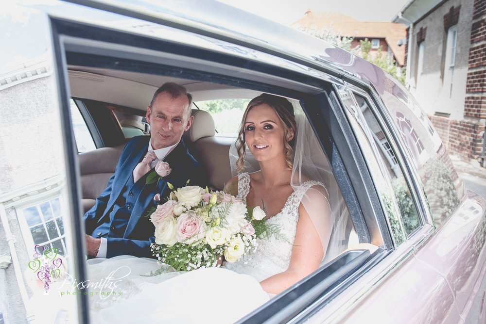 bride arriving for Leverhulme Hotel wedding