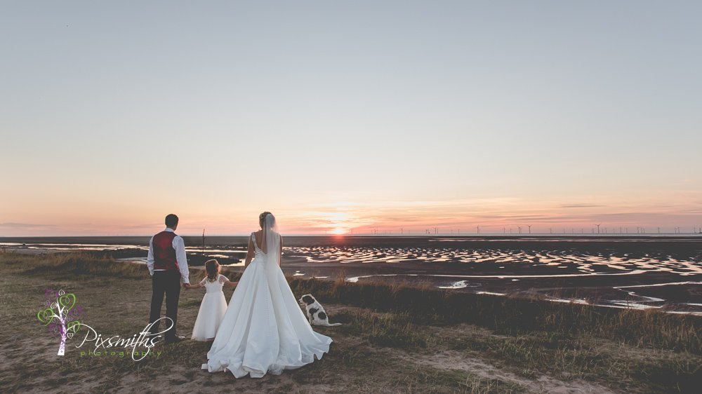 wirral wedding sunset moment