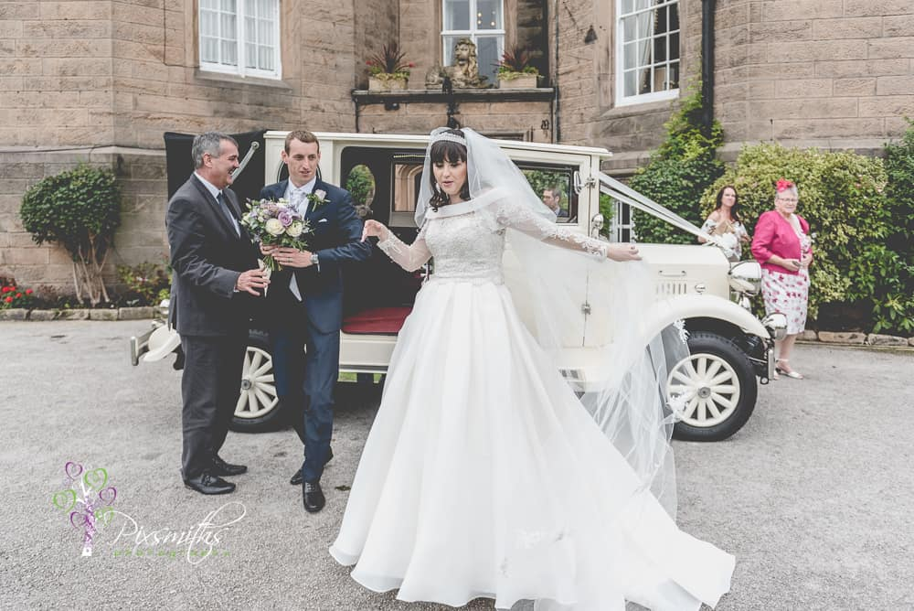 bride and groom arrival Leassowe Castle wedding