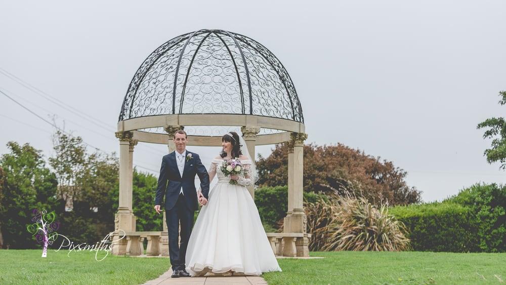 bride and groom portrait Leassowe Castle wedding
