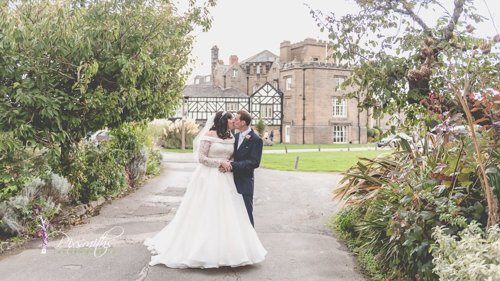 couple portraits Leasowe Castle wedding day