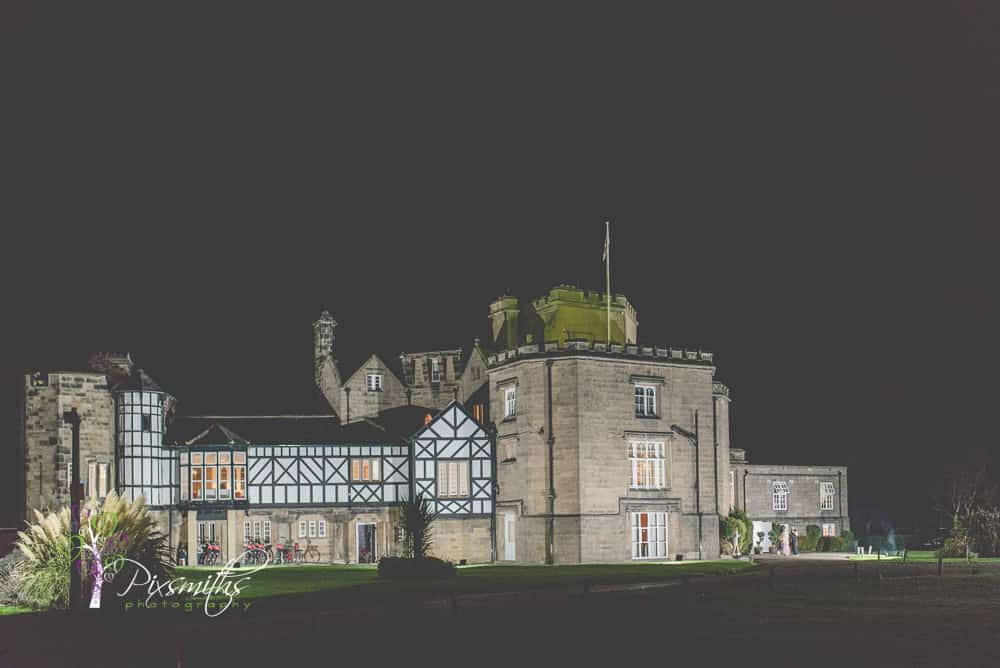 night shot of Leasowe Castle
