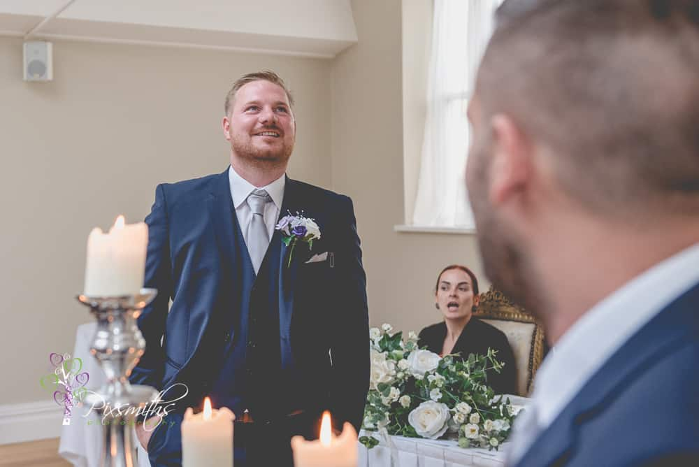grrom nervously awiting his bride at leasowe castle Keep