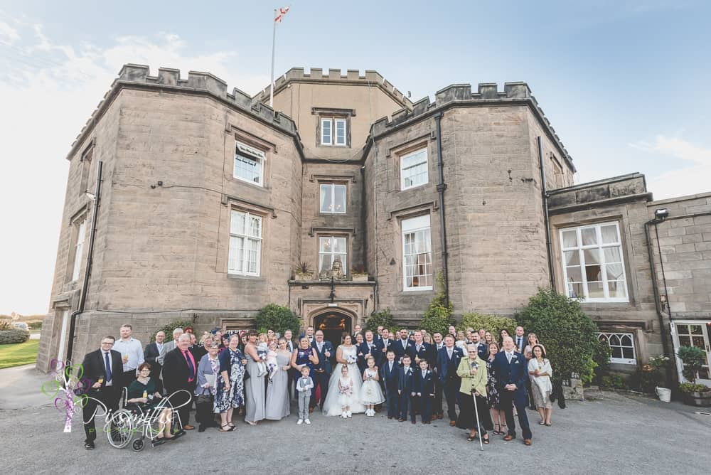 Leasowe Castle Twilight wedding group photog