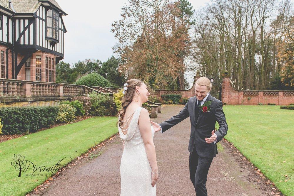 first look before Inglewood Manor wedding