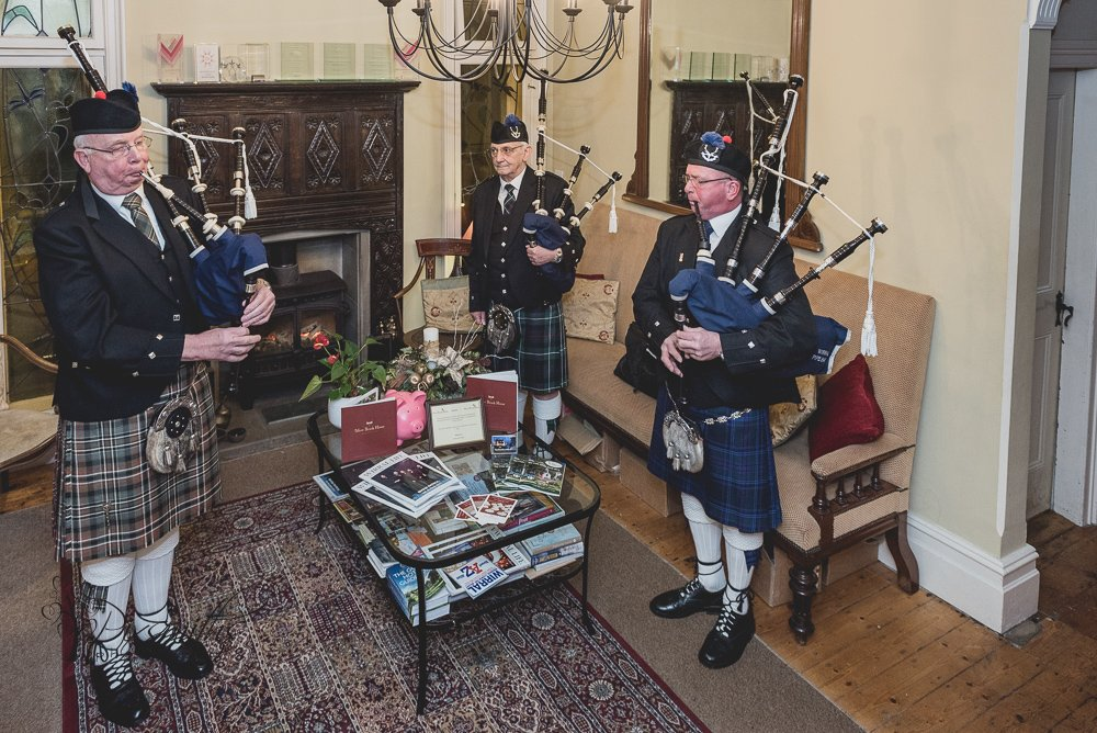Wirral Pipe Band at Mere Brook House