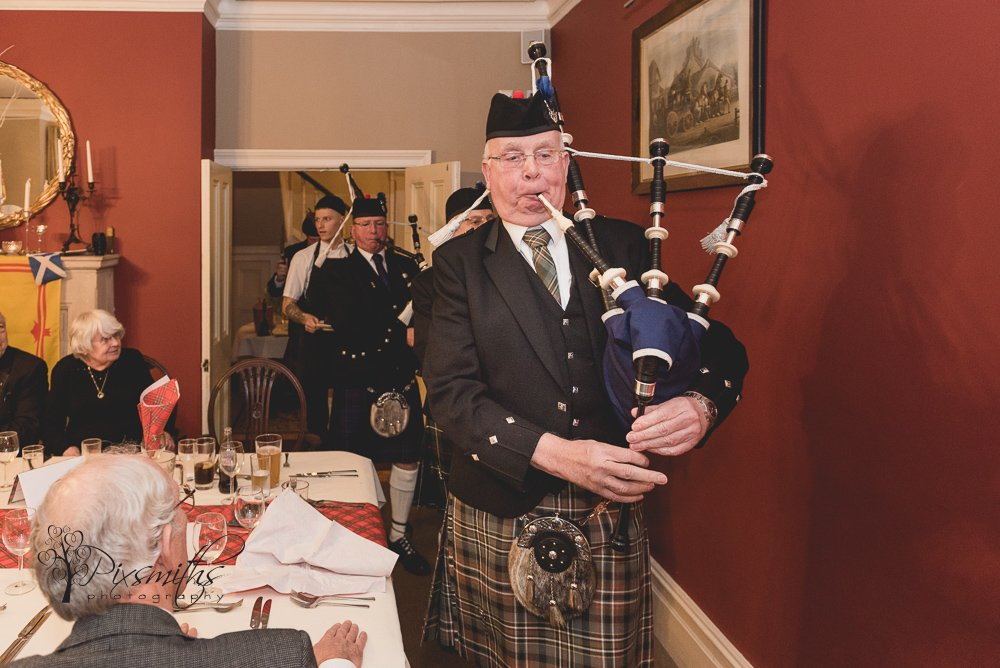 piping in the Haggis at mere Brook