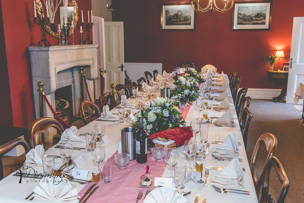 elegant table set for wedding breakfast Mee Brook House