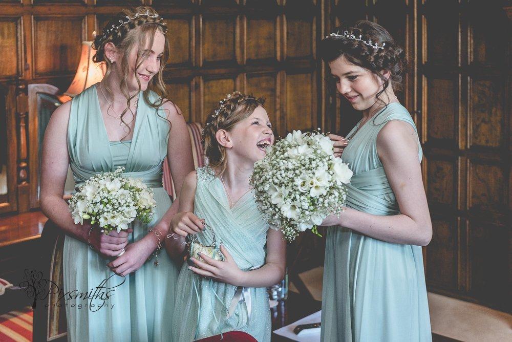 happy bridesmaids during bride preps Inglewood Manor Oak Room