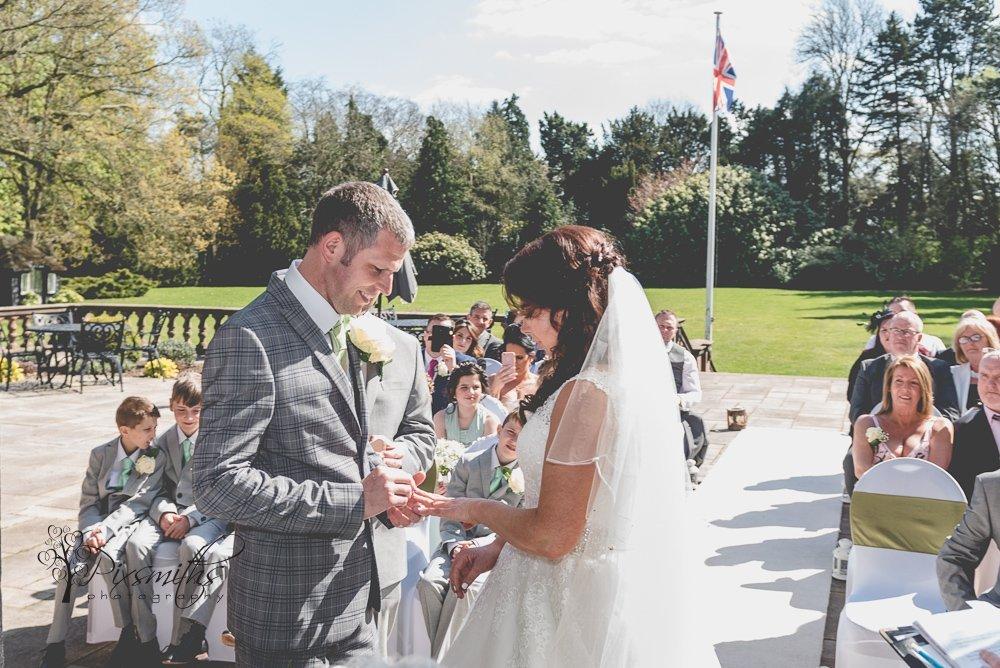 ring exchange outdoor ceremony Inglewoog Manor wedding