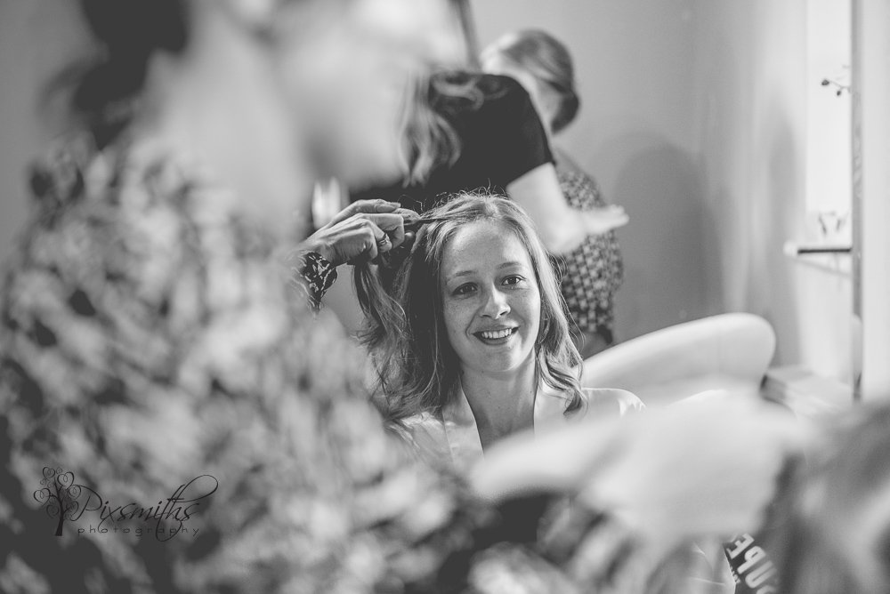 bride preparing for wedding at Colshaw Hall