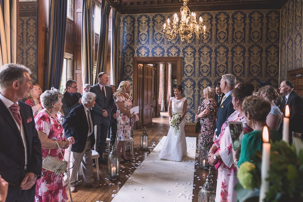 elegant Blue Room wedding ceremony Soughton Hall