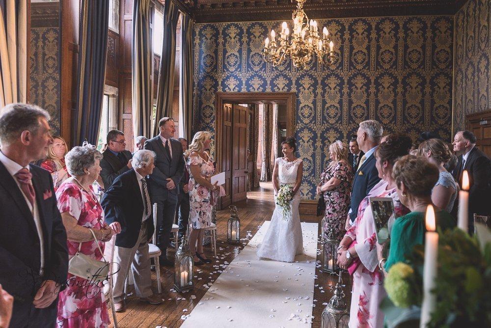 elegant Blue Room wedding ceremony Soughton Hall
