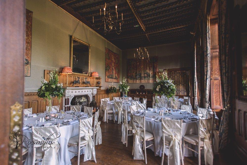 soughton Hall wedding photography - wedding breakfast set up