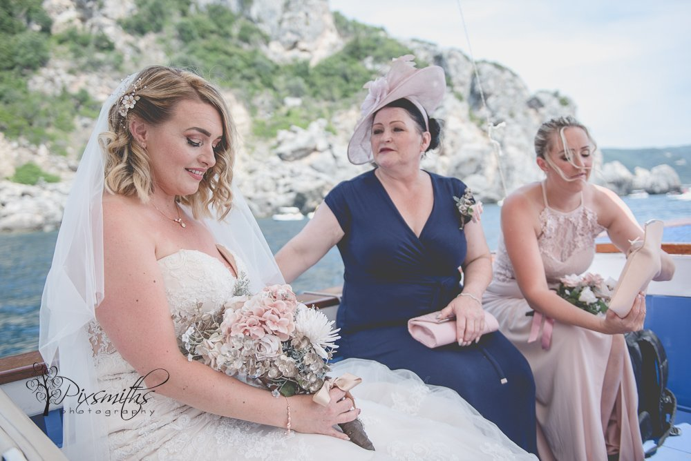 journey by boat to wed her man in Paleokastritsa