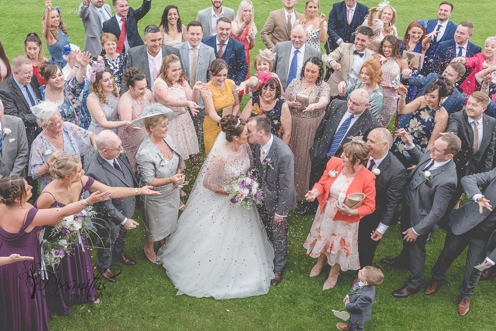 Formby Golf Resort Wedding group confetti shot