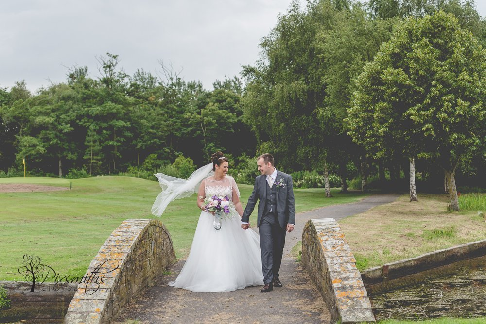 Bride and groom portrait Formby HAll Golf Resort wedding