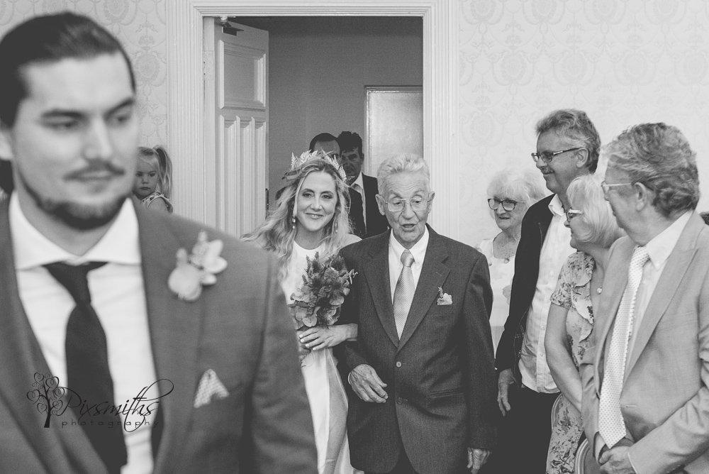 bride entering Birkenhead Town Hall ceremony