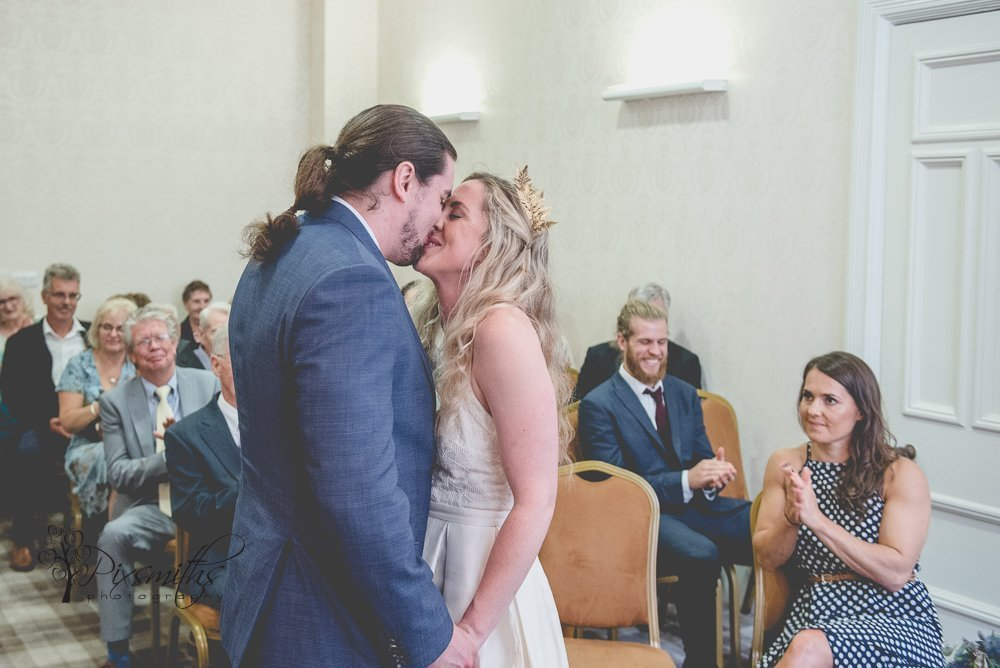 First Kiss Birkenhead Town Hall wedding cermony