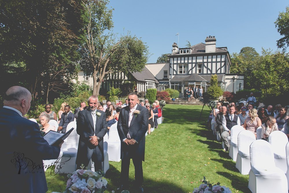 weddign set up outdoors at Brook Hall Cheshire wedding venue